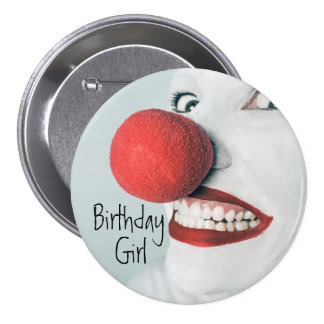 Funny Clown Face Birthday Girl 7.5 Cm Round Badge