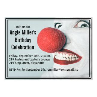 Funny Clown Face Modern Birthday 13 Cm X 18 Cm Invitation Card