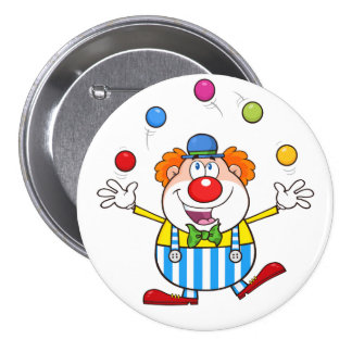 Funny Clown Juggling Button