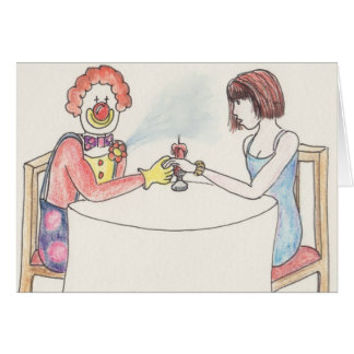 Funny clown love and romance art greetings card