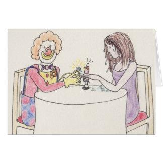 Funny clown love & romance art greetings card