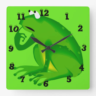 Funny Clueless Green Frog Wall Clock