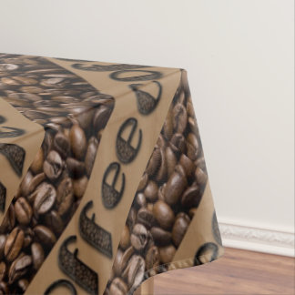 Funny Coffee Beans Typography Tablecloth