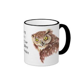 Funny Coffee, Caffeine, Sleep Owl with Attitude Coffee Mugs
