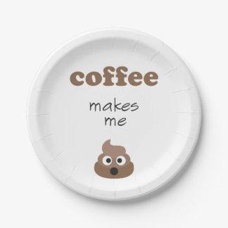 Funny coffee makes me poop emoji phrase 7 inch paper plate