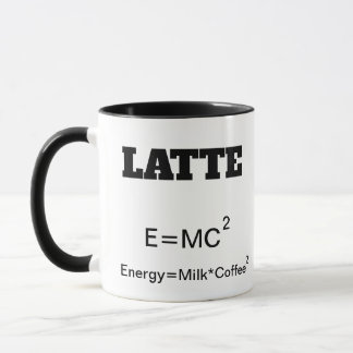Funny Coffee Mug a science pun E=MC2.