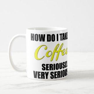 Funny coffee mug with yellow and black text