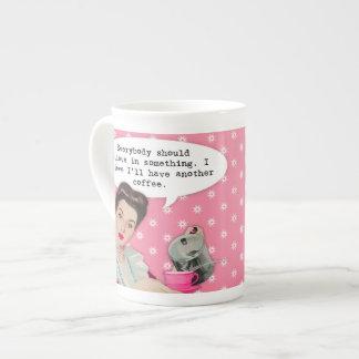 Funny Coffee Quote Bone China Mugs