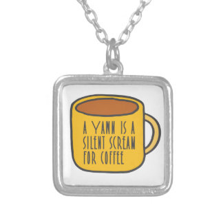 Funny coffee silver plated necklace