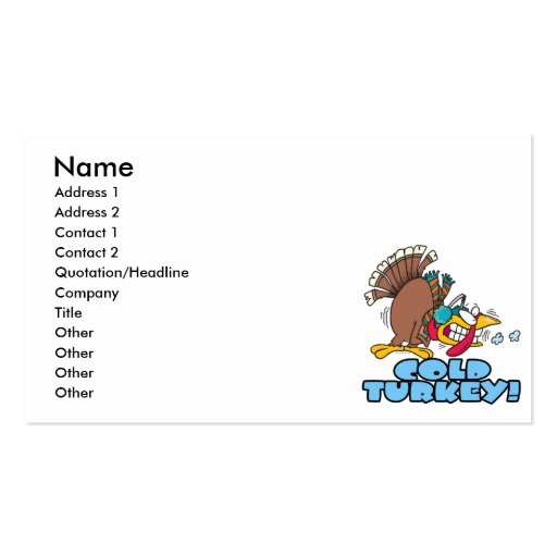funny cold turkey cartoon business card template