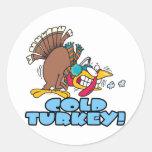 funny cold turkey cartoon round sticker