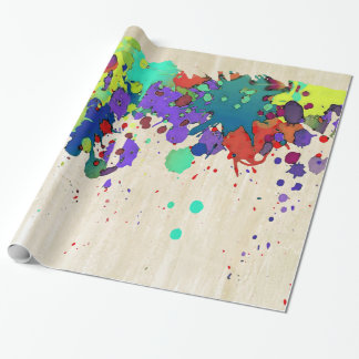 FUNNY COLOR SPLASH I + your ideas Wrapping Paper