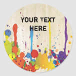 FUNNY COLOR SPLASH II + your backgr. & text Round Sticker