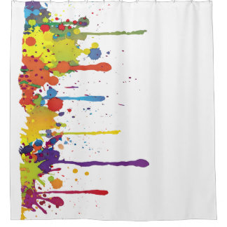 FUNNY COLOR SPLASHes II + your backgr. & ideas Shower Curtain