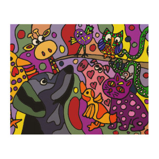 Funny Colorful Abstract Animals Original Art Wood