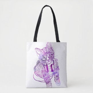 Funny Colorful Cat in Headphones illustration Tote Bag