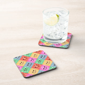 Funny Colorful Cheeky Faces Pattern Coaster