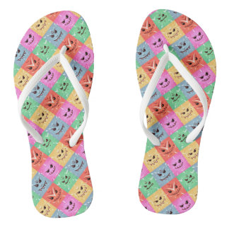 Funny Colorful Cheeky Faces Pattern Flip Flops