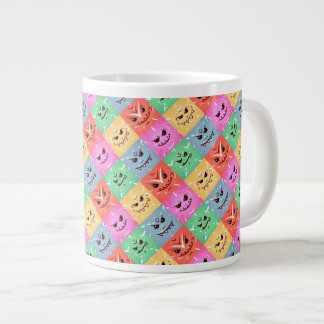Funny Colorful Cheeky Faces Pattern Large Coffee Mug