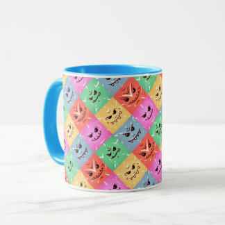 Funny Colorful Cheeky Faces Pattern Mug