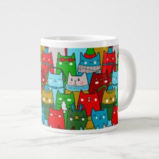 Funny Colorful Christmas Cats Jumbo Mug