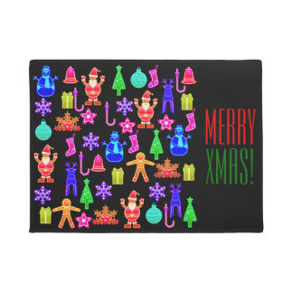 Funny Colorful Christmas Gingerbread Door Mat