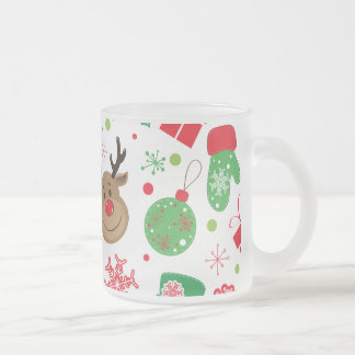 Funny Colorful Christmassy Pattern Frosted Glass Coffee Mug