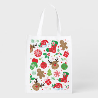 Funny Colorful Christmassy Pattern Reusable Grocery Bag