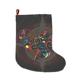 Funny colorful elephant large christmas stocking