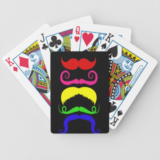 Funny Colorful Mustaches Pink Yellow Blue Green Bicycle Playing Cards