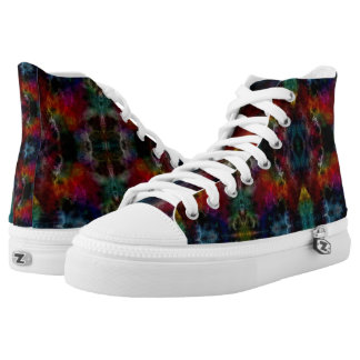 Funny Colorful Paint Art Geometric Pattern High Tops