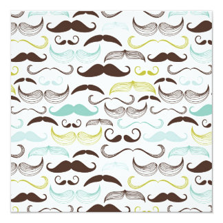 Funny Colorful Pattern for Mustache Lovers 13 Cm X 13 Cm Square Invitation Card
