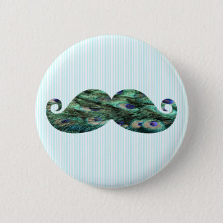 Funny  Colorful Peacock Feathers Mustache 6 Cm Round Badge