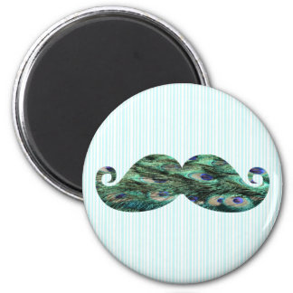 Funny  Colorful Peacock Feathers Mustache 6 Cm Round Magnet