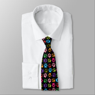 Funny Colorful pet dog or cat paw prints on black Tie