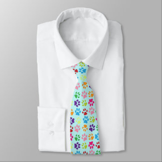 Funny Colorful pet dog or cat paw prints on blue Tie
