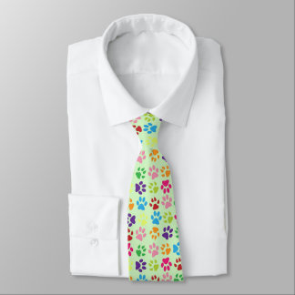 Funny Colorful pet dog or cat paw prints on green Tie