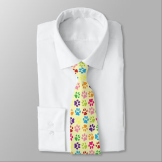 Funny Colorful pet dog or cat paw prints on yellow Tie