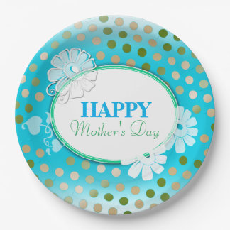 Funny Colorful Polka Dots for Mother's Day 9 Inch Paper Plate