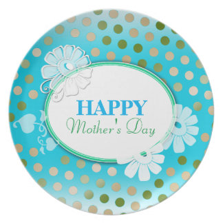 Funny Colorful Polka Dots for Mother's Day Dinner Plate