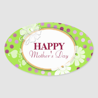 Funny Colorful Polka Dots for Mother's Day Oval Sticker