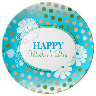 Funny Colorful Polka Dots for Mother's Day Porcelain Plate