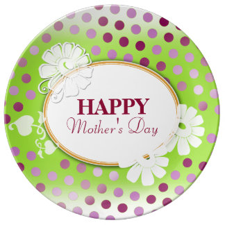 Funny Colorful Polka Dots for Mother's Day Porcelain Plates