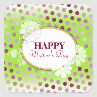 Funny Colorful Polka Dots for Mother's Day Square Sticker