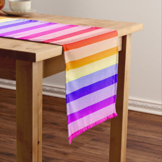 Funny Colorful Stripes Short Table Runner