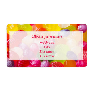 Funny Colorful Sweet Candies Food Lollipop Photo Shipping Label