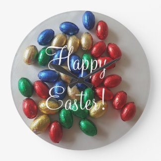 Funny Colorful Wall Clock Chocolate Easter Eggs