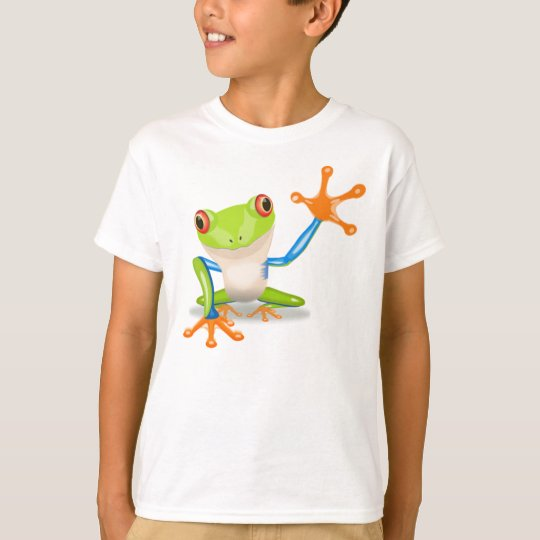 Funny Colourful Big Green Cartoon Frog Waving Arms T-Shirt