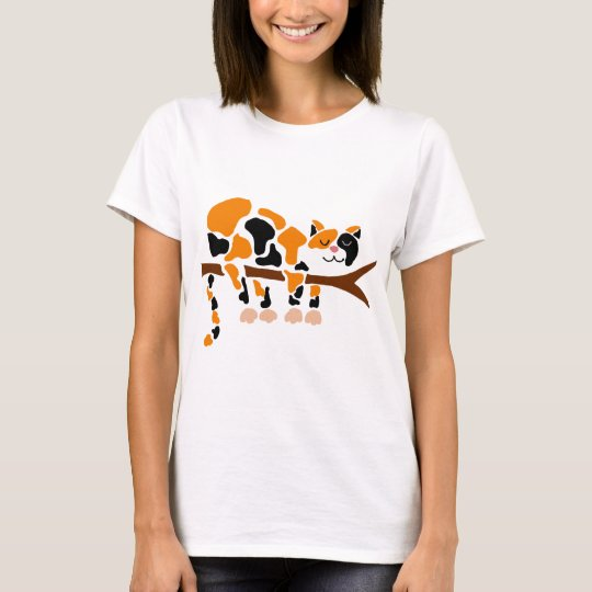 Funny Colourful Calico Cat Art T-Shirt