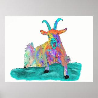 Funny Colourful Orange Screaming Goat Art Design Poster